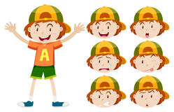 Little boy with different facial expressions Stock Photography