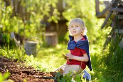 Little boy dig shoveling in backyard at summer sunny day. Mommy little helper. Gardening royalty free stock photos