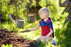 Little boy dig shoveling in backyard at summer sunny day. Mommy little helper. Gardening royalty free stock photography