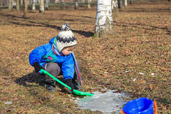 Little boy digging in autumn park Stock Photo