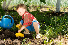Little boy digging with a toy spade Royalty Free Stock Image