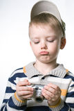 Little boy with the digital photo camera Stock Photography