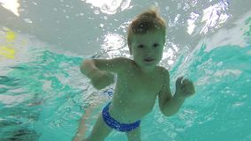 A little boy dives into the pool, swims underwater with her eyes open and looking at the camera. The view from below. 4K, 25fps stock video footage