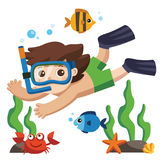 A Little boy diving with fish under the ocean. Have fun Stock Images