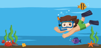 A Little boy diving with fish under the ocean. Template for advertising brochure Stock Images