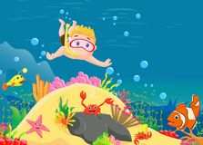 Little boy diving in the sea Royalty Free Stock Photography