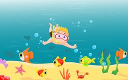 Little boy diving in the sea Royalty Free Stock Photos