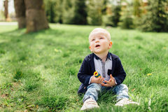 Little boy do bubbles with his mother at park Royalty Free Stock Photography