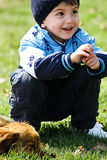 Little boy with dog Stock Photo