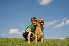Little Boy and Dog Stock Photos