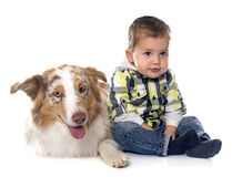Little boy and dog stock image