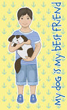 Little boy with a dog. Little boy with his puppy friend Royalty Free Stock Images