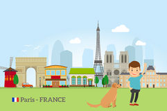Little boy with dog in Paris Stock Image