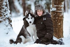 Little boy with the dog Royalty Free Stock Photo