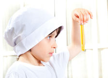 Little boy doing biochemistry Royalty Free Stock Photos