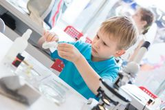 Little boy doing biochemistry research at the lab. A boy of European appearance in a blue T-shirt royalty free stock photo