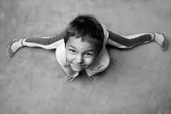 Little boy doing gymnastics Royalty Free Stock Photos