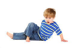 Little boy doing stretches Stock Photo