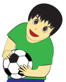 Little Boy draagt voetbalbal Stock Foto's