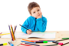 Little boy draw with crayons Royalty Free Stock Photo