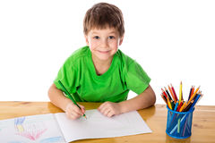 Little boy draw with pencils Stock Photography