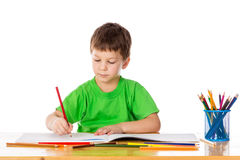 Little boy draw with pencils Royalty Free Stock Photos
