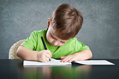 Little boy draw Royalty Free Stock Photography