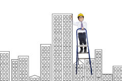 Little boy drawing a building construction Royalty Free Stock Images