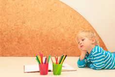 Little boy drawing, child education Stock Photos