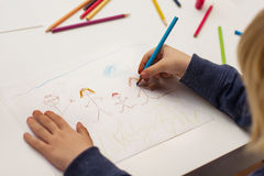 Little boy drawing happy family Royalty Free Stock Images