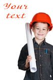 Little boy with drawing and in hard hat Royalty Free Stock Image