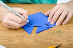 Little boy drawing on paper art origami Stock Photography