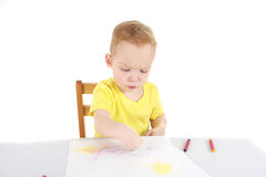 Little boy is drawing the picture Royalty Free Stock Image