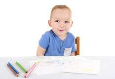 Little boy is drawing the picture Royalty Free Stock Photography