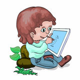 Little boy drawing with tablet PC. Illustration of boy sitting on stone and drawing on tablet PC Royalty Free Stock Image