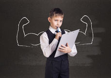 Little boy with drawn powerful hands Royalty Free Stock Image