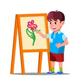 Little Boy Draws On Paper With Colored Pencils Vector. Isolated Illustration stock illustration