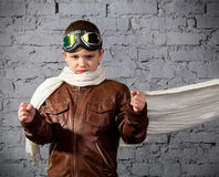 Little boy dreaming of becoming a pilot Stock Photography
