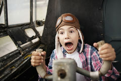 Little boy dreaming of being pilot Royalty Free Stock Photos