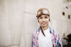 Little boy dreaming of being pilot Royalty Free Stock Photo