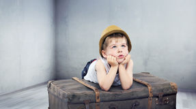 Little boy dreaming about toys Royalty Free Stock Image