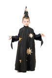 Little boy dressed as astrologer. Isolated on white royalty free stock images