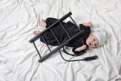 Little boy dressed as a chimney sweep Royalty Free Stock Images
