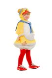 Little boy dressed as a duck. Isolated royalty free stock image