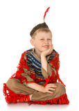 Little boy dressed as an Indian Stock Image