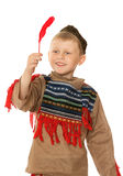 Little boy dressed as an Indian Stock Photo