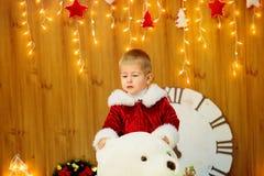 Little boy a dressed as Santa . Christmas Stock Photos