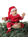 A little boy dressed as Santa Claus Stock Photos