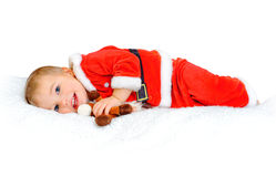 Little boy dressed as Santa Claus Stock Image