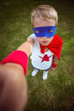 Little boy dressed as superman Stock Images